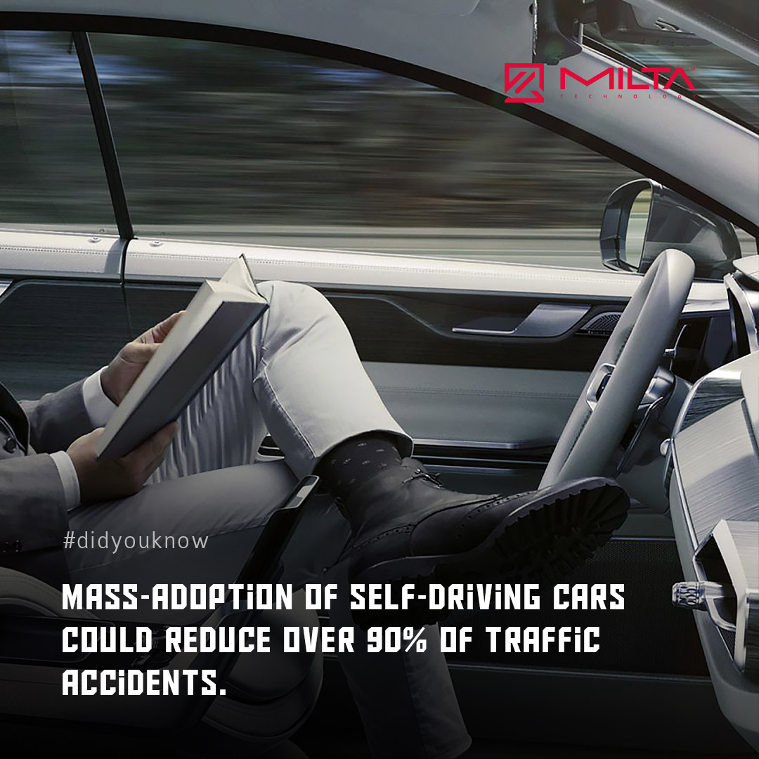 Mass-adoption of self-driving cars could reduce over 90% of traffic accidents MILTA Technology