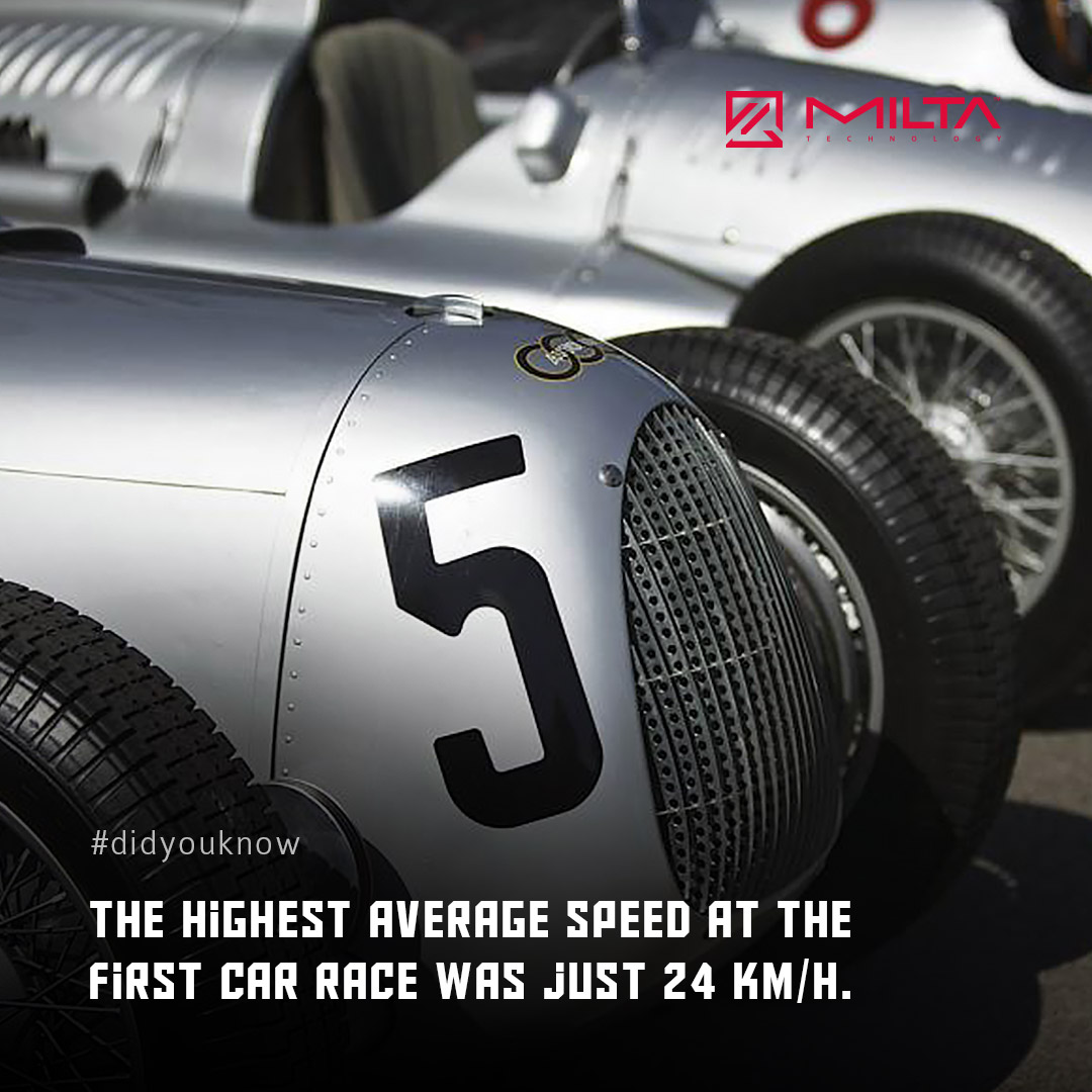 The highest average speed at the first car race was just 24 km/h MILTA Technology