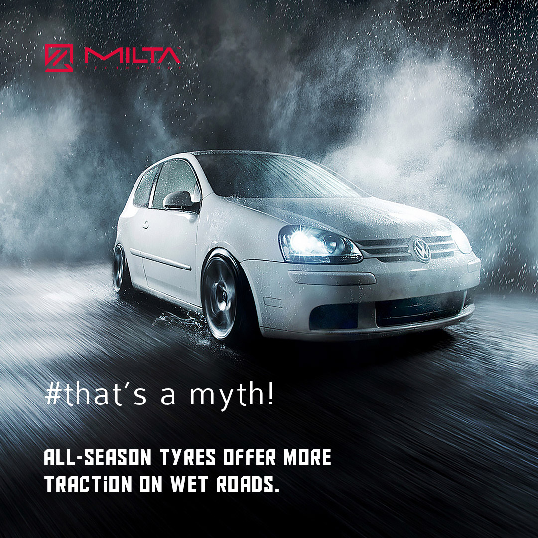 All-season tyres offer more traction on wet roads MILTA Technology