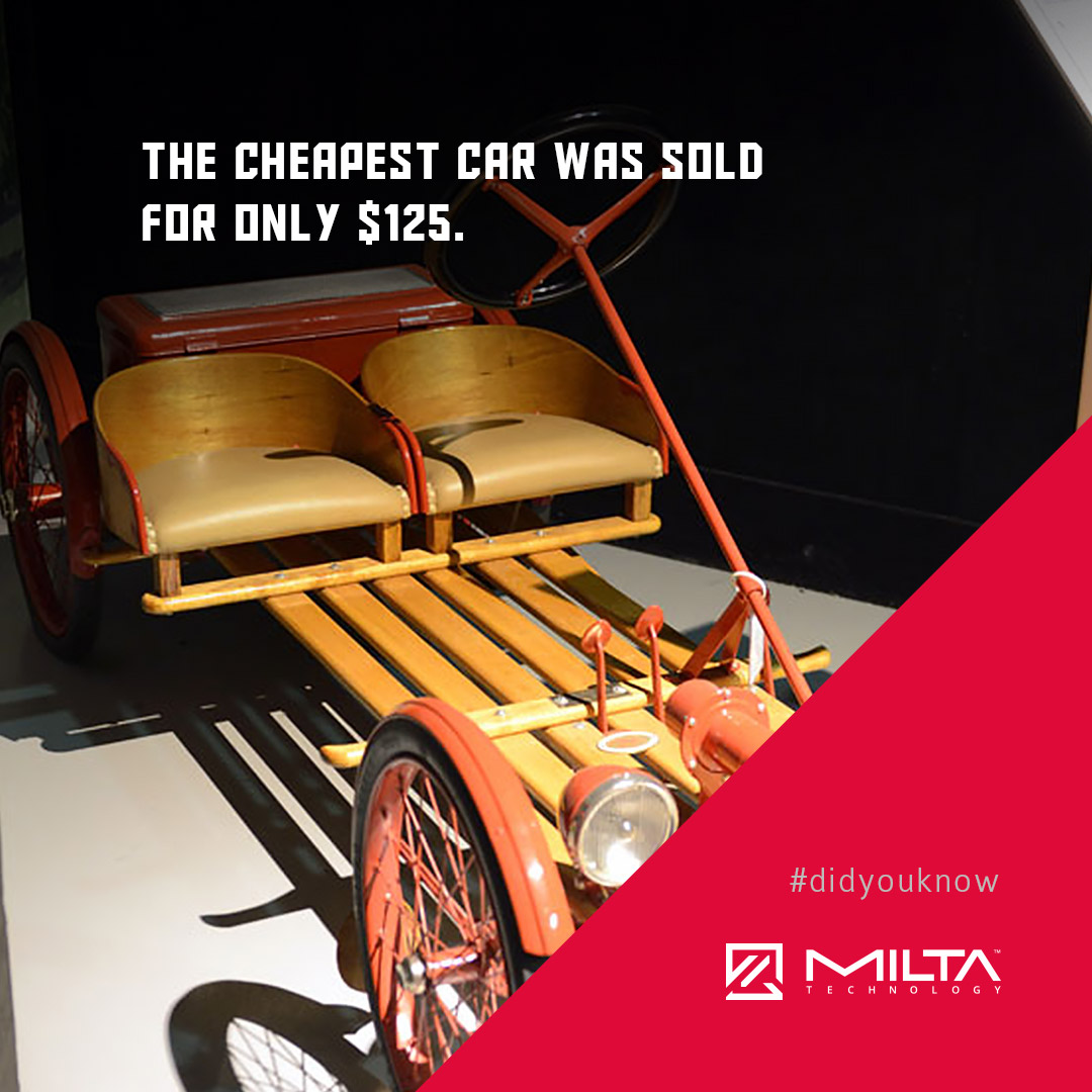 The cheapest car was sold for only $125 MILTA Technology