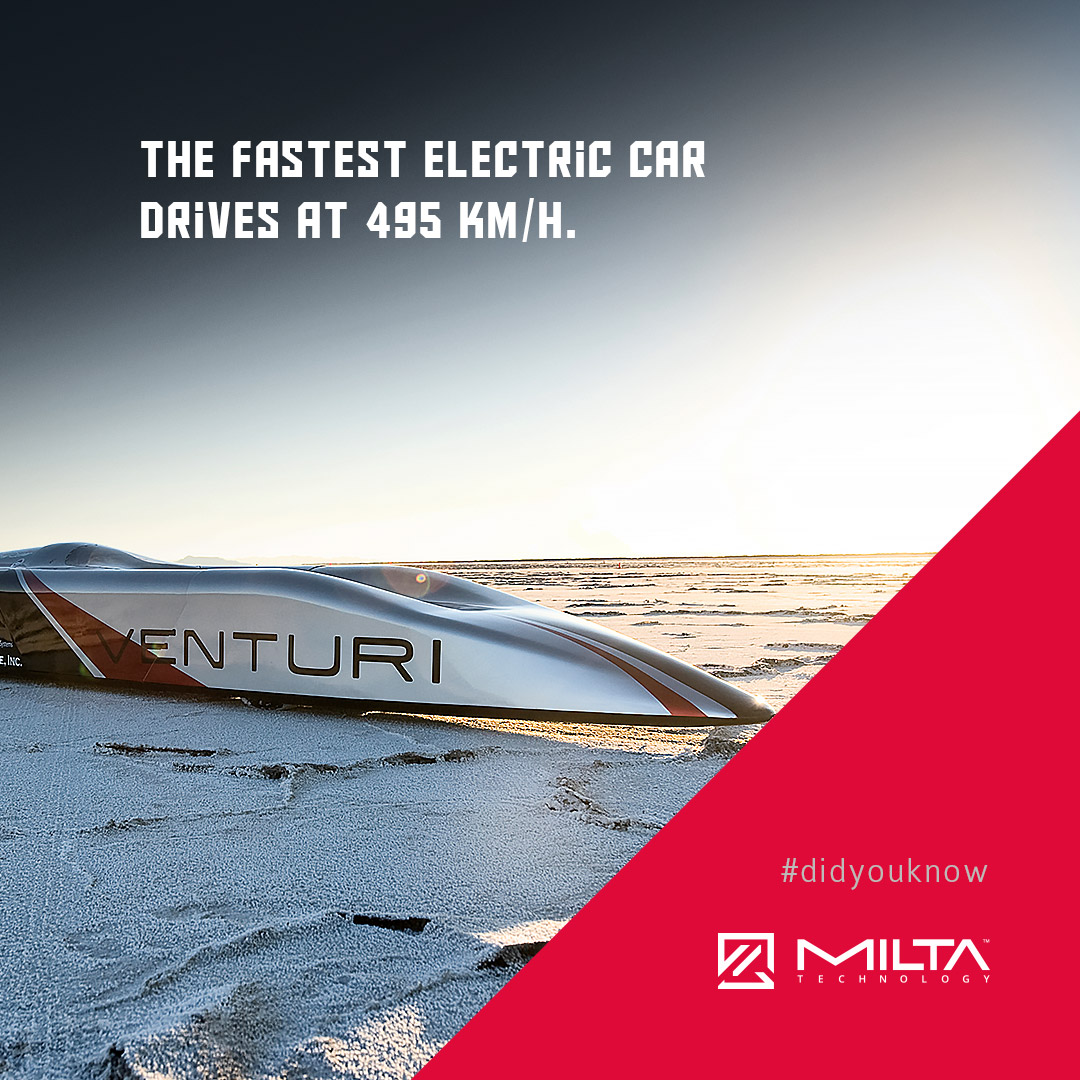 The fastest electric car drives at 495 km/h MILTA Technology