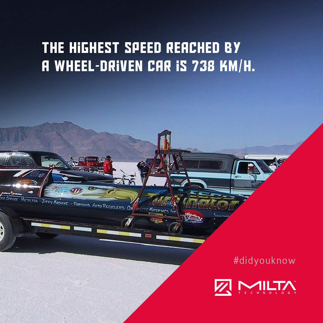 The highest speed reach by a wheel-driven car is 738 km/h MILTA Technology