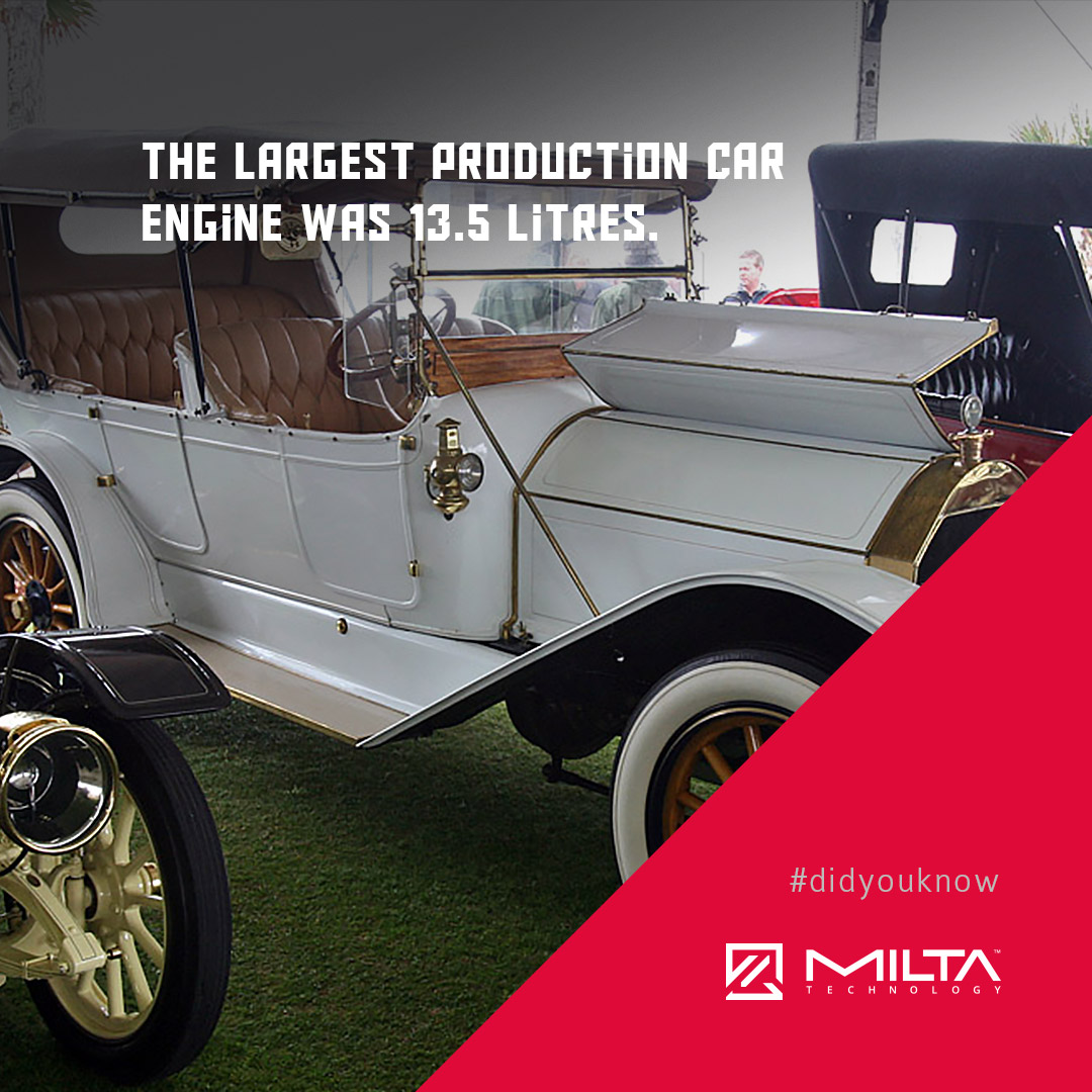 The largest production car engine was 13.5 litres MILTA Technology