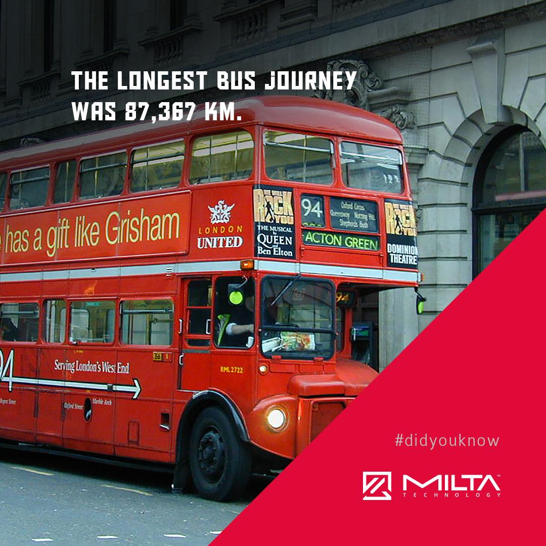 The longest bus journey was 87,367 km MILTA Technology