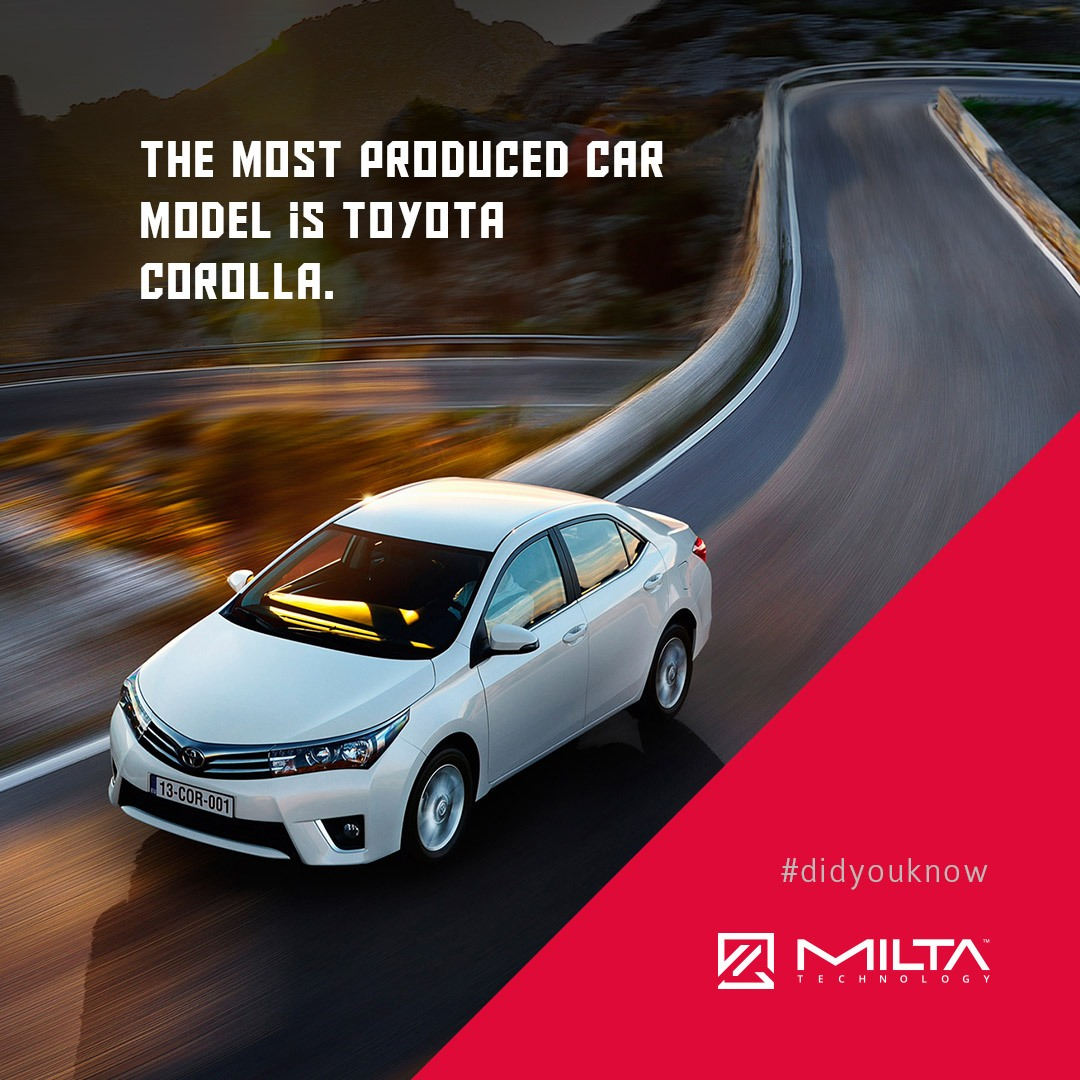 The most produced car model is Toyota Corolla MILTA Technology