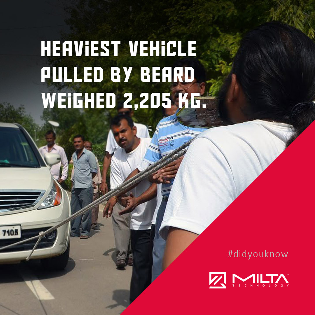 Heaviest vehicle pulled by beard weighed 2,205 kg MILTA Technology
