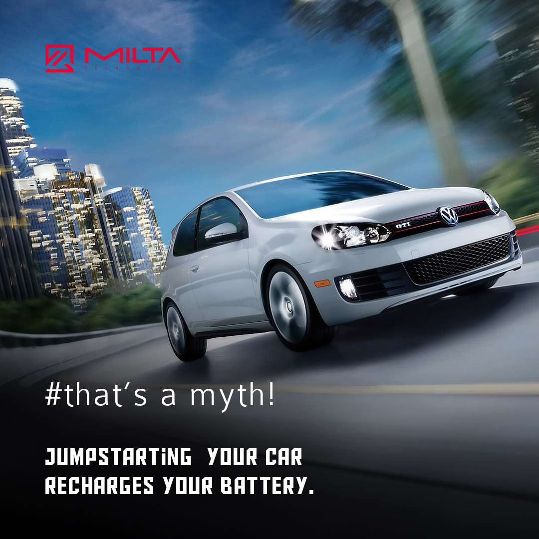 Jumpstarting  your car recharges your battery MILTA Technology