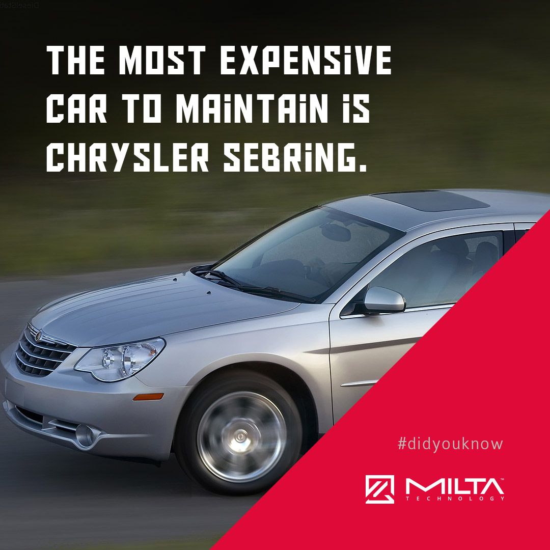 The most expensive car to maintain is Chrysler Sebring MILTA Technology