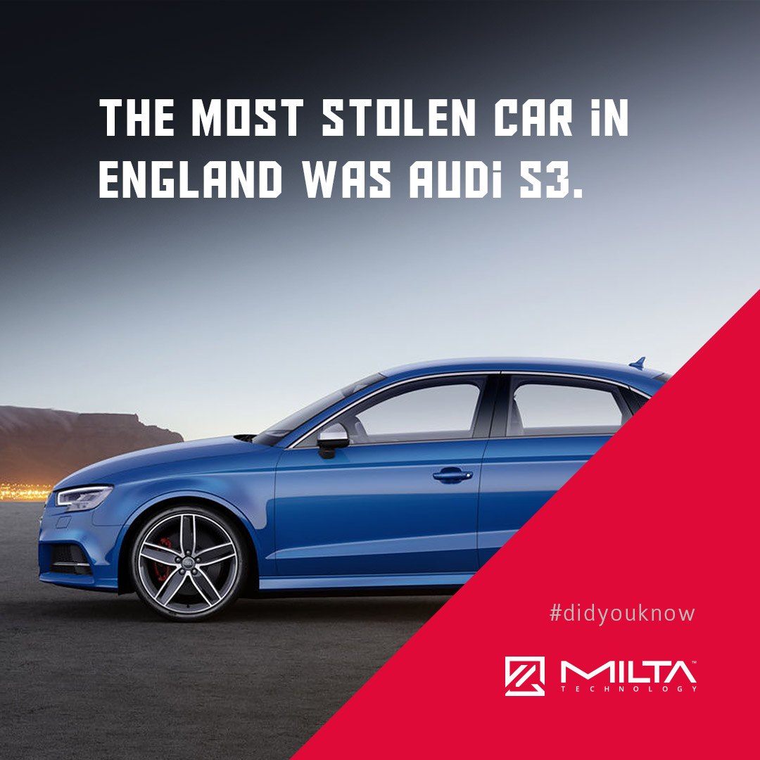 The most stolen car in England was Audi S3 MILTA Technology