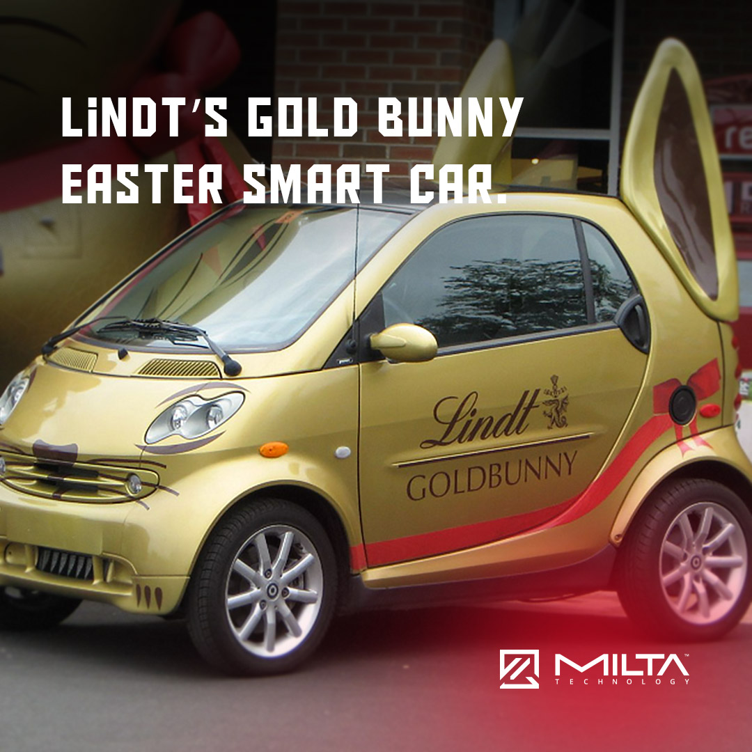 Lindt's gold bunny Easter Smart Car MILTA Technology