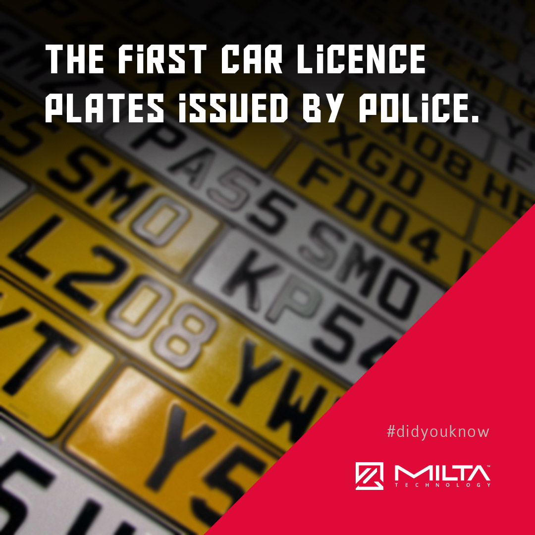 The first car licence plates issued by police MILTA Technology