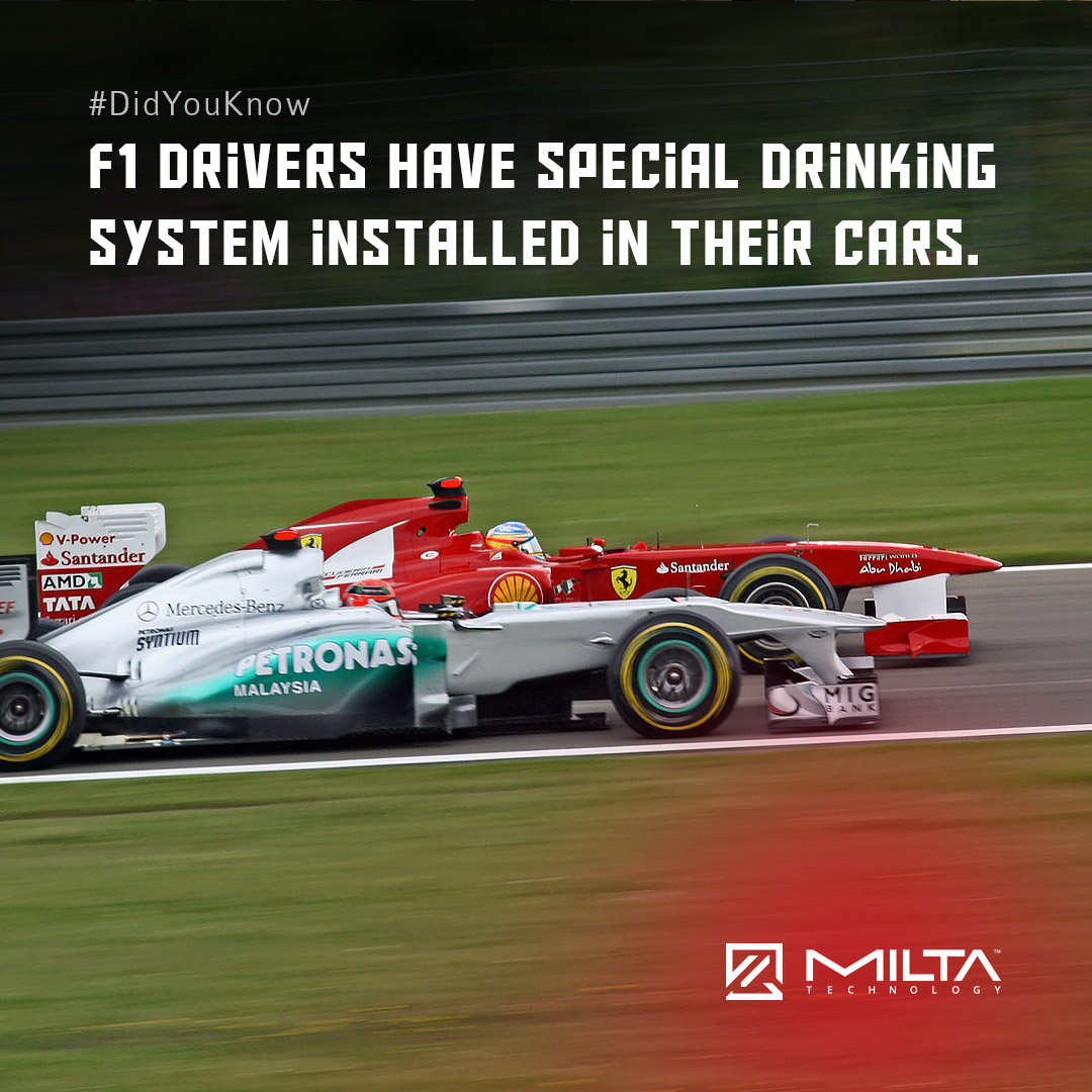 F1 drivers have special drinking system installed in their cars MILTA Technology