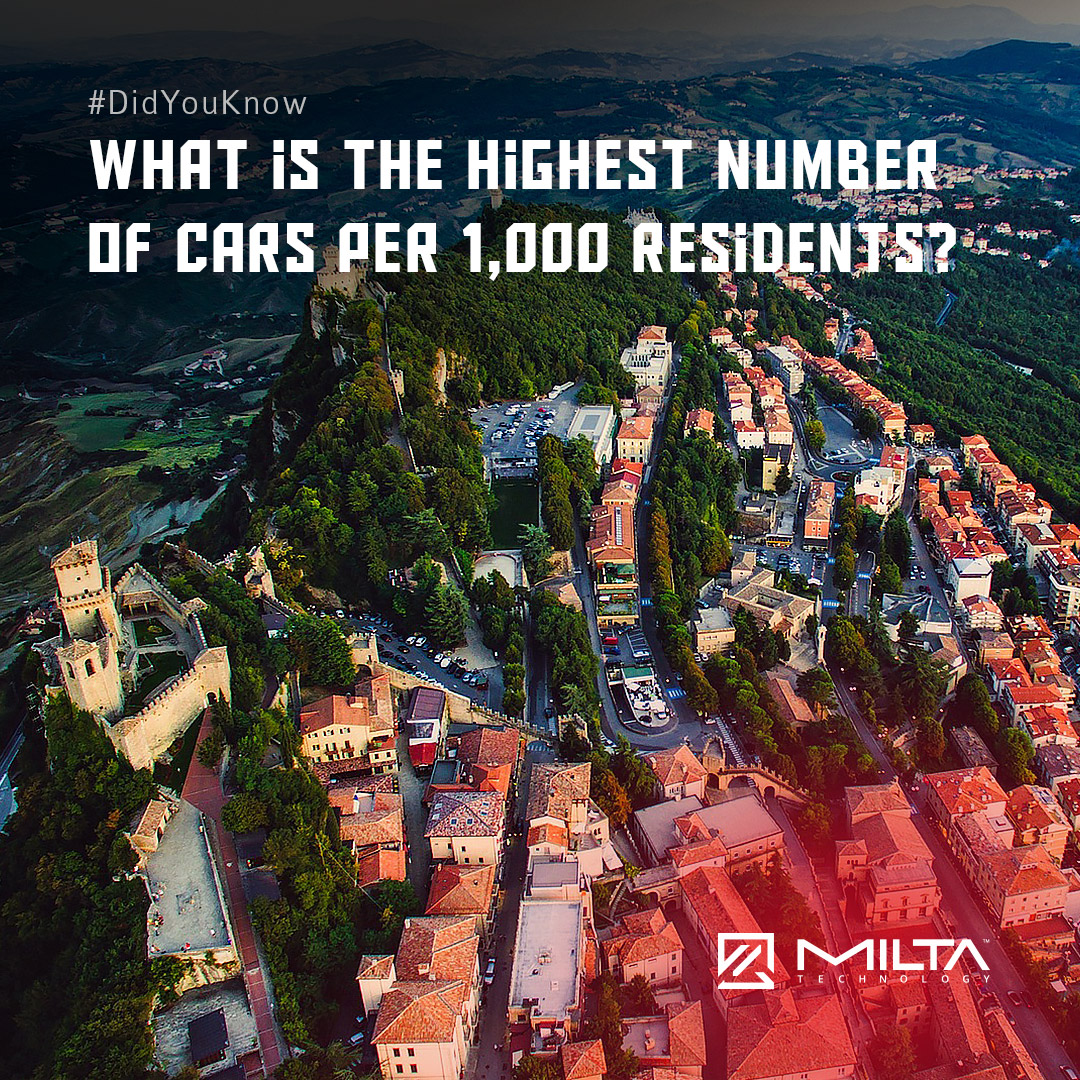 What is the highest number of cars per 1,000 residents? MILTA Technology