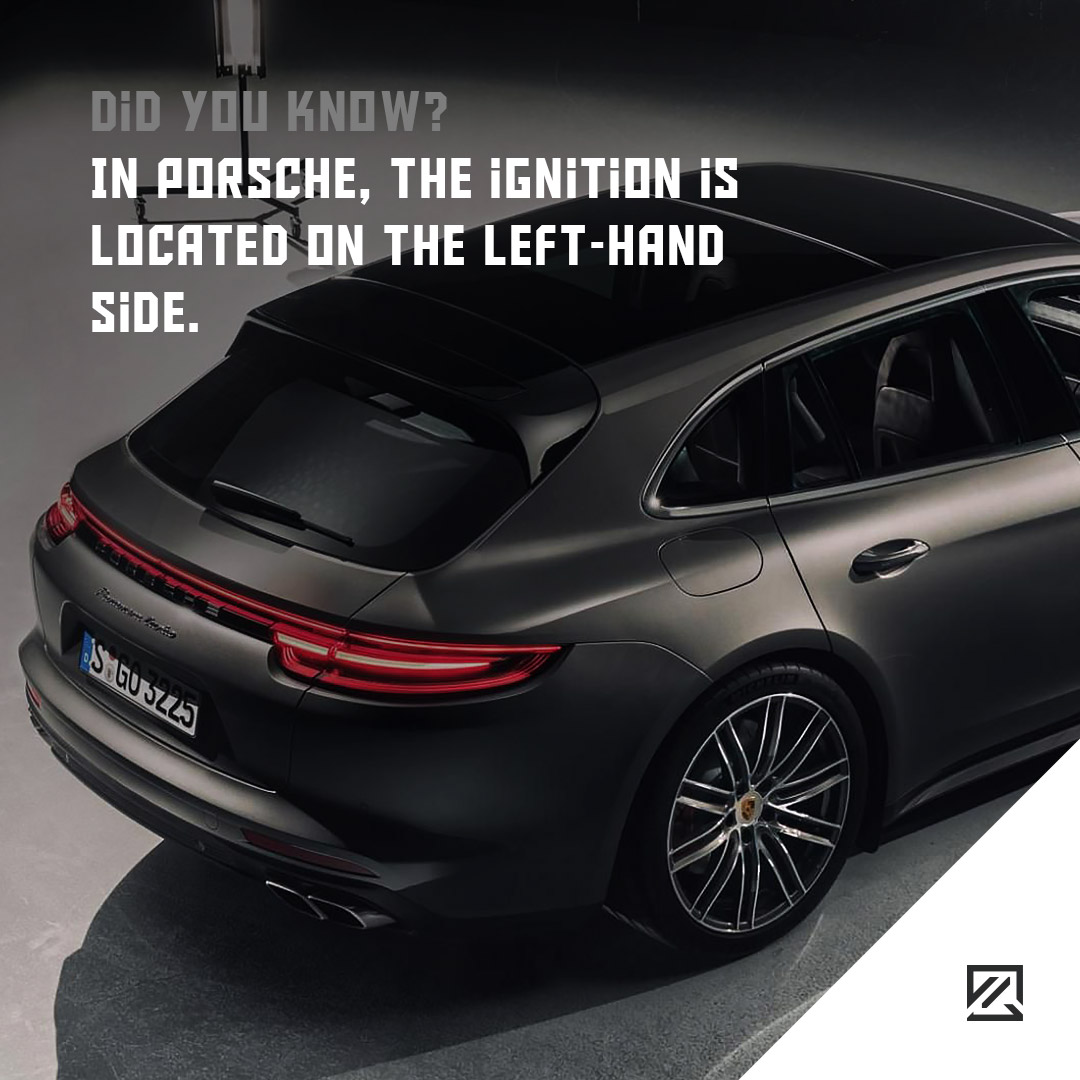 In Porsche, the ignition is located on the left-hand side MILTA Technology