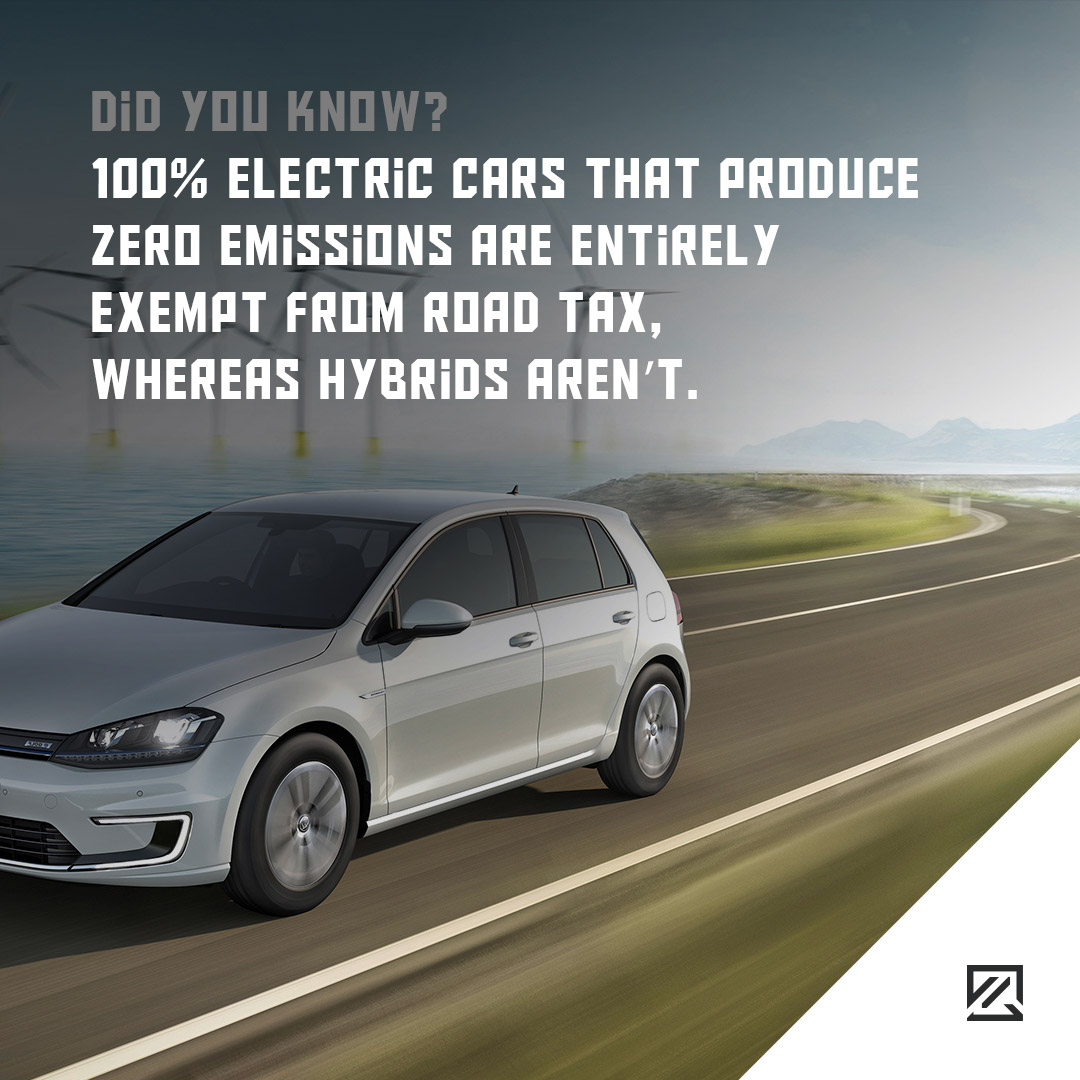 100% electric cars that produce zero emissions are entirely exempt from road tax, whereas hybrids aren't. MILTA Technology