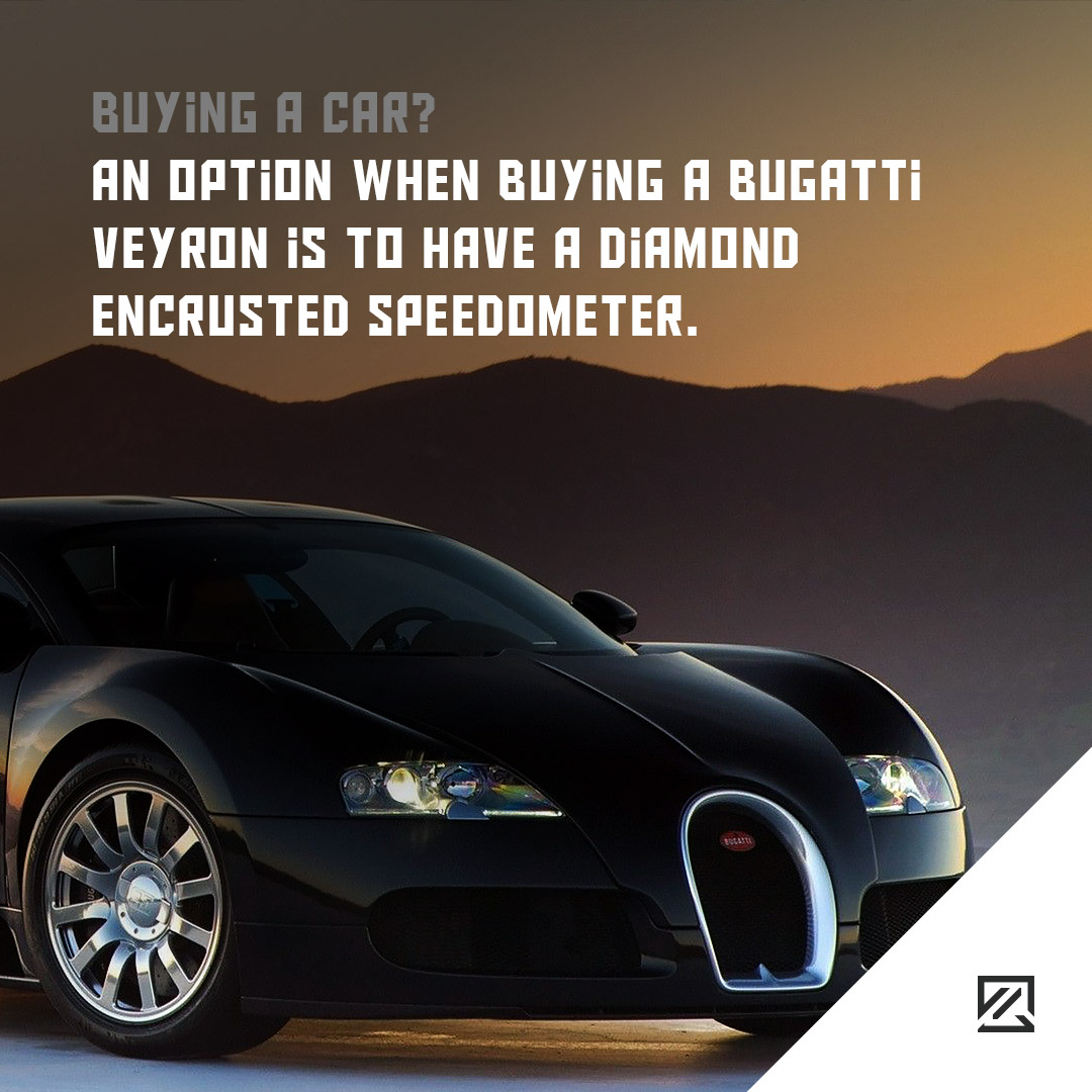 An option when buying a Bugatti Veyron is to have a diamond encrusted speedometer MILTA Technology
