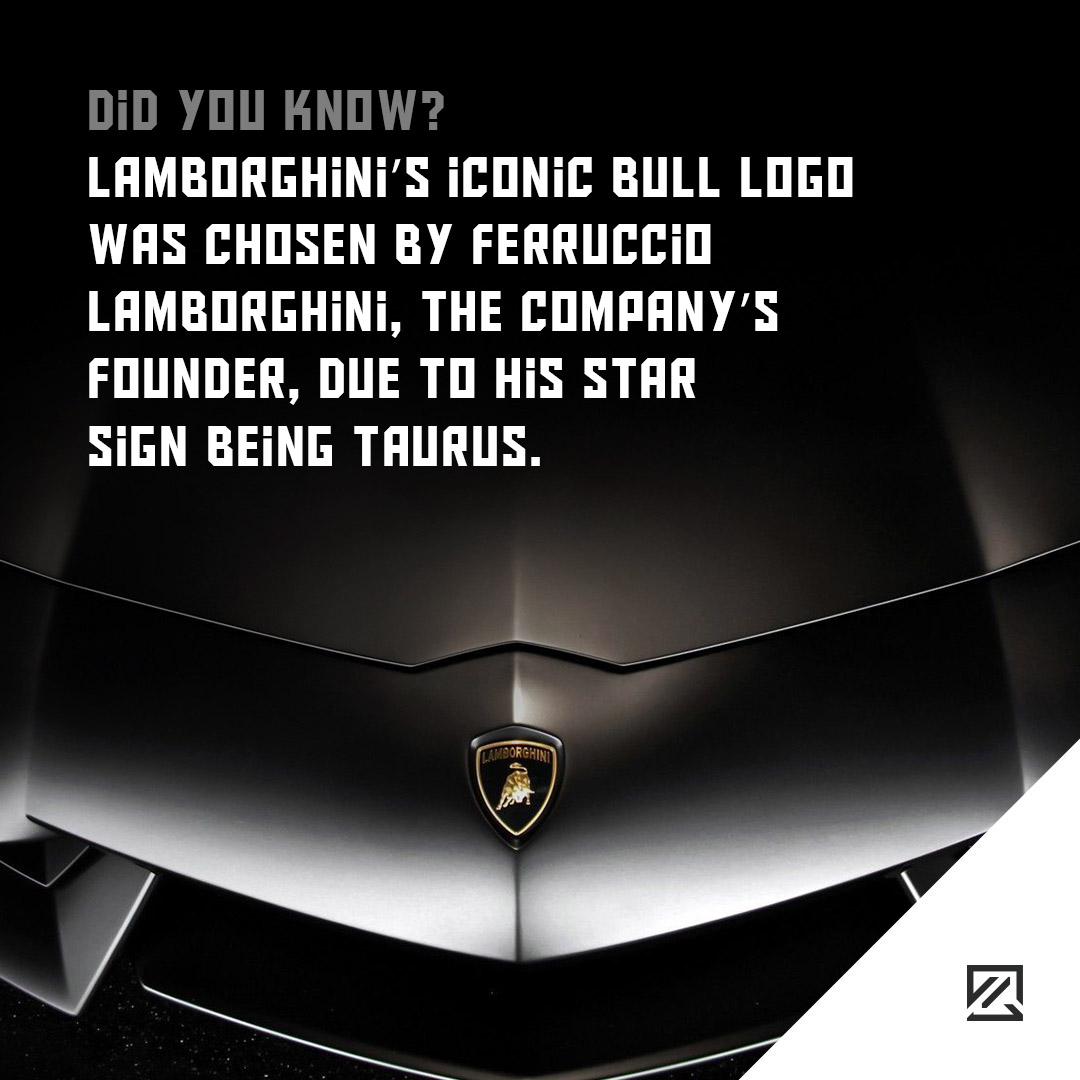 Lamborghini's iconic bull logo was chosen by Ferruccio Lamborghini, the company's founder, due to his star sign being Taurus MILTA Technology