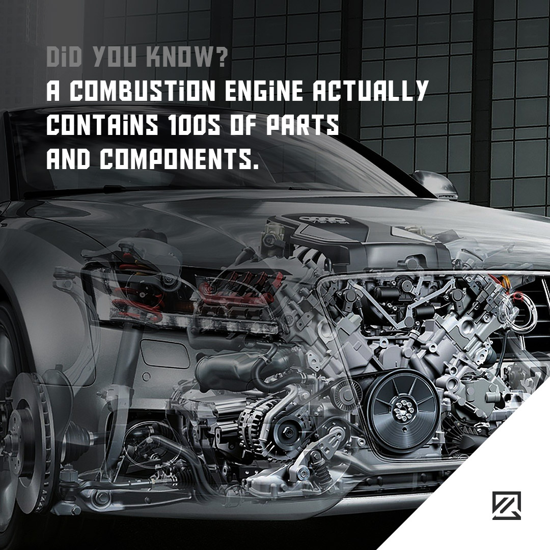A combustion engine actually contains 100s of parts and components ...