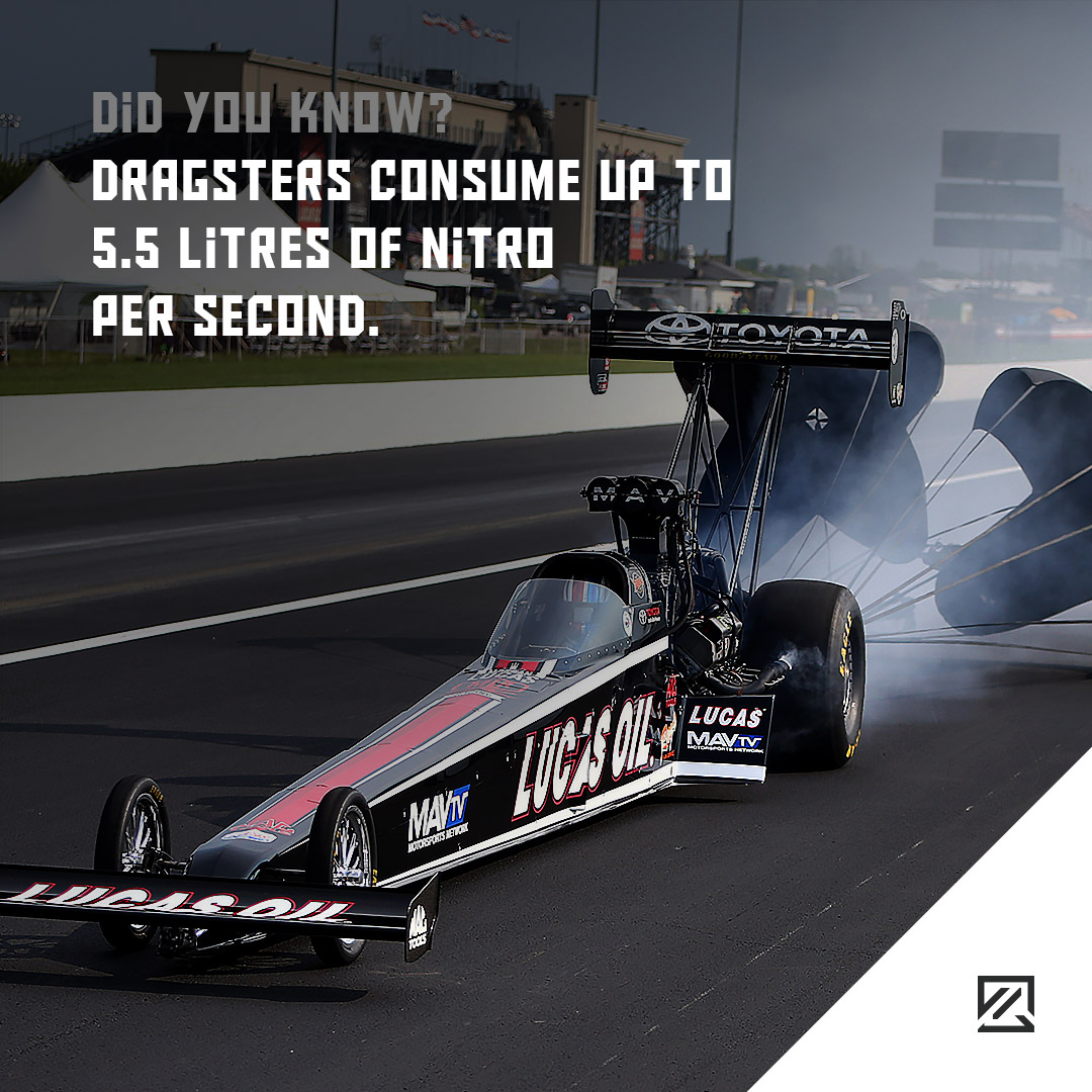 Dragsters Consume Up to 5.5 Litres of Nitro Per Second. MILTA Technology
